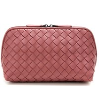 Bottega Veneta Intrecciato Leather Cosmetic Case Pink