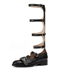 Gucci Leather Brogue Gladiator Boot Black