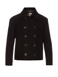 Maison Martin Margiela Double Breasted Cropped Wool Pea Coat