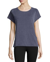 Josie Natori No Sweat Short Sleeve Top Mid Navy Midnavy