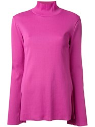 G.V.G.V. Ribbed Bell Sleeve Jumper Pink And Purple