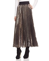 Alice Olivia Katz Metallic Accordion Pleat Midi Skirt Gold Black