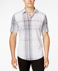 Alfani Men's Slim Fit Modern Plaid Short Sleeve Shirt Bright White