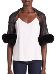 Harrison Morgan Fur Trimmed Lace Shrug Black