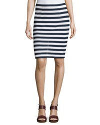 Diane Von Furstenberg Walda Striped Knit Pencil Skirt White Navy