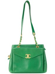Chanel Vintage Trapeze Tote Green