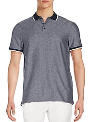 Vince Camuto Ribbed Cotton Polo Navy