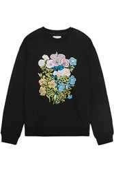 Christopher Kane Floral Embroidered Cotton Jersey Sweatshirt Black
