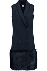 Iris And Ink Shearling Paneled Wool Gilet Navy