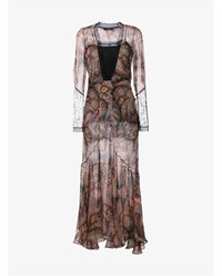 Etro Paisley Print Dress With Lace Trims Black Pink Blue Green Cream Multi Coloured