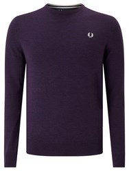 Fred Perry Classic Crew Neck Knit Jumper Blackcurrant Marl