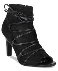 Rialto Rochelle Lace Up Booties Women's Shoes Black