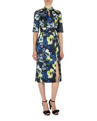 Erdem Davina Floral Print Keyhole Dress Navy Yellow Navy Yellow