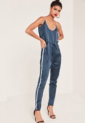 Missguided Navy Satin Sports Striped Strap Jumpsuit