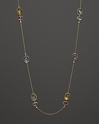 Vianna Brasil 18K Yellow Gold Necklace With Amethyst Blue Topaz Citrine Prasiolite And Diamond Accents 31.5 Multi Gold