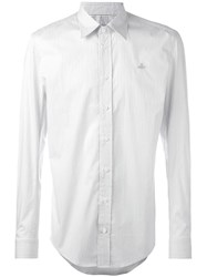 Vivienne Westwood Man Orb Embroidery Striped Shirt White