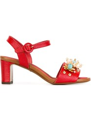 Dolce And Gabbana Embellished Sandals Red