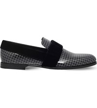 Jimmy Choo John Glitter Houndstooth Patent Leather Loafers Blk Other