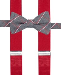 Alfani Men's Holiday Grid Bow Tie And Suspender Set Only At Macy's Red