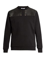 Givenchy Leather Panelled Cotton Sweatshirt Black
