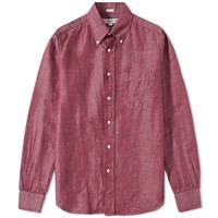 Individualized Shirts Button Down Linen Chambray Shirt Red