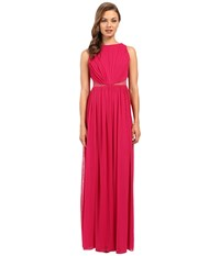 Adrianna Papell Rouched Halter Gown Fuchsia Women's Dress Pink