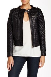 L.A.M.B. Quilted Leather Jacket Black
