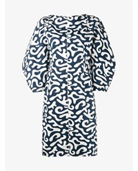 Marni Printed Dress With 3 4 Length Sleeves Navy Blue White Linen