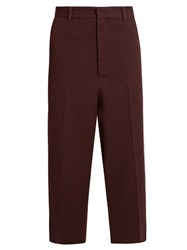 Raey Flat Front Cropped Crepe Trousers Burgundy