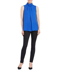 Ellen Tracy Solid Sleeveless Shell Top Blue
