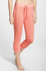 Women's Hard Tail Side Ruched Capris Coral