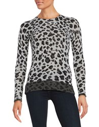 Ply Cashmere Crewneck Leopard Print Pullover Grey Combo