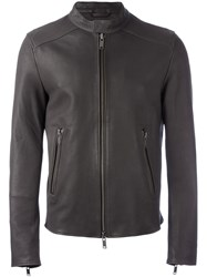 Desa 1972 Zip Up Biker Jacket Grey