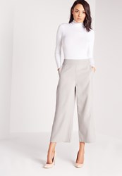 Missguided Cropped Wide Leg Culottes Grey