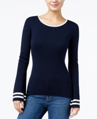 Tommy Hilfiger Erin Bell Sleeve Pullover Sweater Only At Macy's Masters Navy Snow White