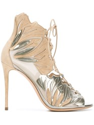 Casadei Lace Up Open Toe Sandals Nude And Neutrals