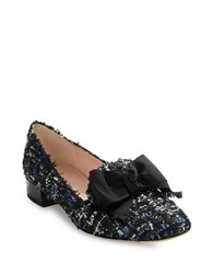 Kate Spade Gino Bow Accent Tweed Loafers Blue