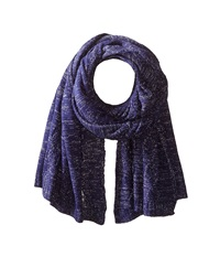 San Diego Hat Company Bss1517 Blanket Scarf With Cable Stitch And Silver Metallic Yarn Cobalt Scarves Blue
