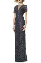 Theia Women's Short Sleeve Lace Column Gown