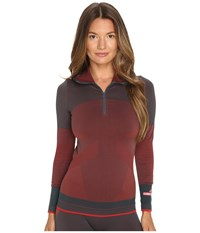 Adidas By Stella Mccartney Essentials Seamless Hooded Long Sleeve Top Ax7343 Cherry Wine Solid Grey Women's Sweatshirt Brown