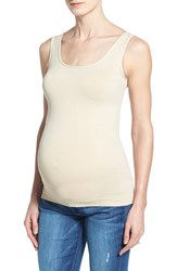 Women's Tees By Tina Scoop Neck Maternity Tank Beige Alabaster Nude