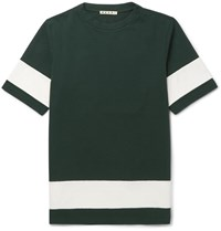 Marni Striped Cotton Jersey T Shirt Green