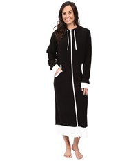 Dkny 48 Long Sleeve Robe With Hood Black Women's Robe