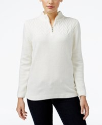 Alfred Dunner Petite Classics Quarter Zip Sweater Ivory