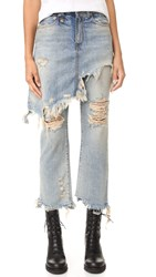 R 13 Double Classic Skirted Jeans Leyton