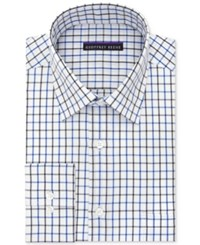 Geoffrey Beene Men's Bedford Cord Classic Fit Blue Multi Check Dress Shirt