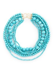 Kenneth Jay Lane Multi Strand Marbled Bead Necklace Blue