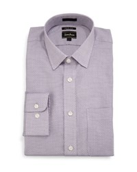 Neiman Marcus Trim Fit Textured Dress Shirt Purple