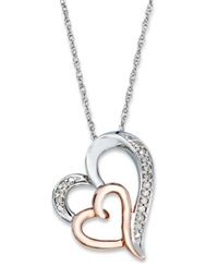 Macy's Diamond Double Heart Pendant Necklace In Sterling Silver And 14K Rose Gold 1 10 Ct. T.W.