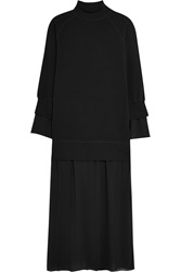 Mm6 Maison Margiela Stretch Cotton Jersey And Georgette Maxi Dress